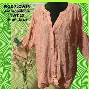 NWT Fig &Flower 2X Peach Embroidered Florals Top
